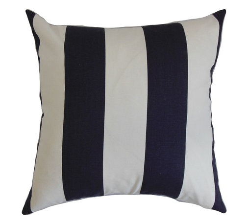 """The Pillow Collection - Leesburg Stripes Pillow Blue White 18"""" x 18"""" - The bold and fresh colors of this square pillow bring a rejuvenating twist to your interiors. This accent pillow lends extra comfort and style to your furniture. Mix up this decor pillow with other patterns like geometric, plaid and floral for a unique look. This 18"""" pillow coordinates easily with various decor styles and settings. Made from 100% plush and durable cotton fabric. Hidden zipper closure for easy cover removal.  Knife edge finish on all four sides.  Reversible pillow with the same fabric on the back side.  Spot cleaning suggested."""