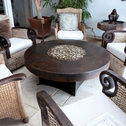 """Gas Fire Pits - A real 18 gauge hammered copper fire table from Oriflamme Fire Tables. This beautiful fire pit table is available from All Backyard Fun in a 42"""" round, 40"""" square and 48"""" round table top. Comes with the famous Oriflamme Fire Table burner that emits 65,000 BTUs of heat! For more information visit - http://www.allbackyardfun.com/fire-pit-tables/gas-fire-tables/oriflamme-gas-fire-pit-hammered-copper/"""