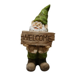 Alpine - Gnome with Welcome Sign Statue - Add color, spice and life to your outdoors with these fiberglass gnome statuaries. Each has its own playful personality and is sure to bring a fanciful feel to any yard, garden or deck. These sturdy statuaries boast earth hues of green and beige.Features: