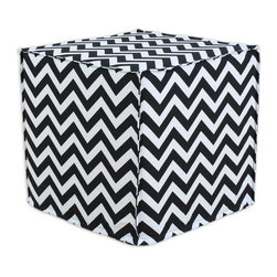 """Chooty - Chooty Zig Zag Black Collection 17"""" Square Seamed Foam Ottoman - Insert 100 High Density Foam, Fabric Content 100 Cotton, Color Black, White, Hassock 1"""