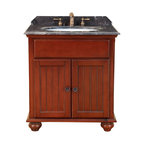 "Bosconi - 30"" Bosconi T-3742 Single Vanity - Bosconi Classic single Vanity exquisitely made with Dark Emperador Marble, showcases great craftsmanship from the legs to the single cabinet's double doors. This model's Antique Red finish complements the top and every feature of the vanity. Bosconi vanity is the perfect blend of beauty and function and is a great addition to any bathroom."