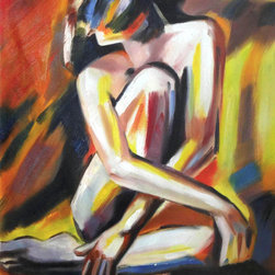 "overstockArt.com - Wierzbicki - Seated Lady - Seated Lady is a colorful expressionist painting of a woman. Enjoy its beauty and color in every room or workspace.. Influenced by the Expressionist Movement Helena's love of Art has developed and grown from her early years as a child. She can not imagine wanting to do anything else. The artist says ""Making art is an innate response to the inner and outer worlds, and a balancing act between the intuitive and the considered."" Helena says, ""Art is an evolving process, representing only elements which are the essence of the object or of the imaginary being. Relying on the desires for beauty, poetics and seduction."""