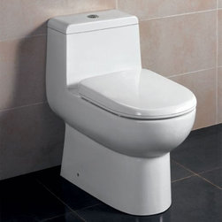 Eago - Dual Flush One Piece Eco-Friendly Ceramic Toi - Ultra Low Flush 1.6 gpf. Not Dual Flush.. Dimensions: 26 5/8in. x 15 1/8in. x 26 5/8in.. One Piece Toilet. European design. Siphonic Flush System. New tower based mechanism; No chain, no flapper. Fully Glazed inside & out. Soft Closing Toilet Seat, Lid & wax ring included. Powerful & efficient 3in. flushing valve. Wide water surface allows for easy cleaning. EAGO Eco-Friendly Dual Flush One Piece Toilets. Manual. Balanced water distributionThe Future of American Toilets. Ultra Low Flush (ULF) Eco-Friendly 1.6 Gallon flush. The Most Advanced Flushing System. Only One Flush. This environmentally friendly toilet will save a family of four an average of 10,000 gallons of water per year! Never be startled again by the loud crash of a slamming toilet seat. The soft drop seat has an innovative hinge system that will gently guide the toilet seat down with out a sound.