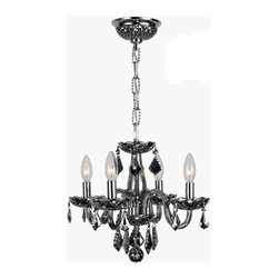 Worldwide Lighting - Clarion 4 light Chrome Finish with Chrome Crystal Chandelier - This stunning 4-light crystal chandelier only uses the best quality material and workmanship ensuring a beautiful heirloom quality piece. Featuring a radiant chrome finish and finely cut premium grade chrome colored crystals with a lead content of 30%, this elegant chandelier will give any room sparkle and glamour. Worldwide Lighting Corporation is a premier designer manufacturer and direct importer of fine quality chandeliers, surface mounts, and sconces for your home at a reasonable price. You will find unmatched quality and artistry in every luminaire we manufacture.