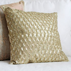 Pyar & Co. - Pyar & Co. Pompano Pillow - Gold - Like waves rolling over the shore, the hand-crafted antique gold sequins undulate along the pillow, offering a sense of allure, depth, and energy. Available in Medium or Large.