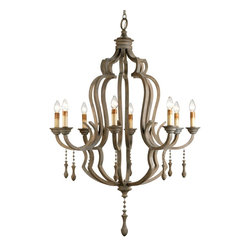 Currey and Company - Waterloo Chandelier - This magnificent eight light chandelier is spectacular on all counts: Size, materials and finish. The framework is constructed of wrought iron with applied bent wood that has been stained and then grey washed to give it the appearance of age. The classic traditional form has simple accents of gracefully turned wooden pendants.