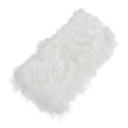 Kathy Kuo Home - Selenge White Mongolian Sheepskin Rug - Mongolian sheepskin is irresistible and inviting with long, straight white fur. Comfortable and cozy next to your favorite armchair, covering an ottoman or hanging over a sofa, this soft sheepskin will make everyone feel at home.