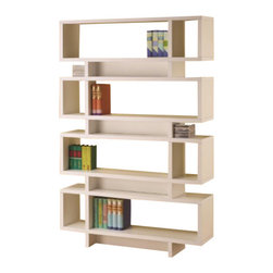 "Coaster - Bookshelf (White) By Coaster - The modern-retro appeal of this bookcase plus its versatile storage and display options make it a must have for a contemporary home. The four large rectangular shapes are divided into eight shelves with three smaller rectangular compartments in between. The various nooks and crannies allow for a stylish way books, accents, and much more. Dimensions:47-1/4"" X 11-3/4"" X 72-3/4 Some assembly may be required. Please see product details."