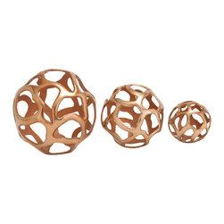 Lustrous Aluminum Decorative Ball, Set of 3 - Description: