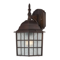 Nuvo Lighting - Nuvo Lighting 60/4905 Adams Single-Light Wall Lantern, Finished in Rustic Bronze - Nuvo Lighting 60/4905 Adams Single-Light Wall Lantern, Finished in Rustic Bronze with Frosted Glass PanelsNuvo Lighting 60/4905 Features: