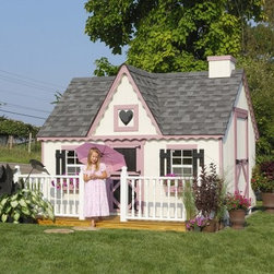 Little Cottage 8 x 8 Victorian Wood Playhouse - Encourage imaginative play and make a retreat your child will love with the Little Cottage 8x8 Wood Victorian Playhouse. Inspired by classic Victorian construction, complete with gingerbread trim, a heart-shaped window, and old-fashioned shutters, this extraordinary playhouse measures approximately 8 x 8 x 8 feet and is just the right size for your child. You'll love its stately presence in your backyard, too. This house is constructed from LP Smart Side, a popular building material due to its durability, resistance to weather, and its low environmental impact. Treated with SmartGuard, which uses zinc borates to resist rot and mold, LP Smart Side is an incredibly strong and safe alternative to typical materials that ensures years of enjoyment from your playhouse. Thanks to the durability of this material, LP offers a 50-year limited warranty. This house arrives as a kit, ready to assemble with ease. It is available in your choice of configurations based on availability. Please note that if you choose an option without the floor kit, then you must provide the materials for an interior floor. The playhouse shown in the photo above includes all available options (floor kit, chimney, loft, and deck with rail). Your house comes complete with 2x3 wood wall framing, 2x4 wood trusses, high-quality siding and trim (which is pre-fastened to wall panels), panelized pre-cut wall sections, pre-fastened gingerbread trim, two flowerboxes, and two working Plexiglass windows, measuring 14 x 21 inches each. The windows include safety glass, aluminum grids, and screens. Also included are shutters, one painted heart-shaped Plexiglass window, and all assembly hardware, as well as white aluminum exterior corner trim. All trim and siding is pre-primed and ready for painting. A child-size Dutch door (20W x 40H inches) opens from the front of the playhouse, while an adult door (34W x 61H inches) opens from the side. Paint this house any color you wish. Shingles, dripedge (roof edging), and paint are not included but are available at any local hardware store. If you choose the configuration that includes the deck, you will also have to supply three 4 x 4-foot posts for under-floor support. About The Little Cottage CompanyNestled in the heart of Ohio's Amish country, The Little Cottage Company resides in a quaint, slow-paced setting where old-fashioned craftsmanship and attention to detail have never gone out of style. Our experienced carpenters and skilled designers take great pride in creating top-quality, pre-built models and Do-It-Yourself kits of playhouses, storage sheds, and more.