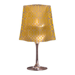 Modgy - Lumizu Wine Glass Shade Classiq Yellow - Creating instant elegance is easy with LUMIZU Wine Glass Shades. These wine glass lamp shades are crafted from durable, frosted plastic and slide easily over water-filled wine glasses. No assembly required. LUMIZU Wine Glass Shades fit over any standard