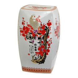 Oriental Unlimited - 18.5 in. High Cherry Blossom Square Porcelain - Elegant, distinctive variation on the classic Chinese garden stool. Crafted from top quality, extra durable, fine Chinese porcelain. 12 in. Dia. x 18.5 in. H (21 lbs.). Seat: 10 in. Dia.