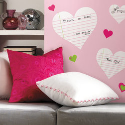 RR - Heart Notepad Dry Erase Peel & Stick Wall Decals - Heart Notepad Dry Erase Peel & Stick Wall Decals