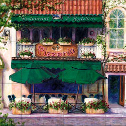 The Tile Mural Store (USA) - Tile Mural - Cafe 8 - Kitchen Backsplash Ideas - This beautiful artwork by Malenda Trick has been digitally reproduced for tiles and depicts a street scene with a cafe.  This street scene tile mural would be perfect as part of your kitchen backsplash tile project or your tub and shower surround bathroom tile project. Street scenes images on tiles add a unique element to your tiling project and are a great kitchen backsplash idea. Use a street scene tile mural, perhaps a Tuscan theme tile mural, for a wall tile project in any room in your home where you want to add interesting wall tile.