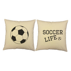 RoomCraft - Soccer Life Ball Pillow Covers 16in Square Natural Shams - FEATURES: