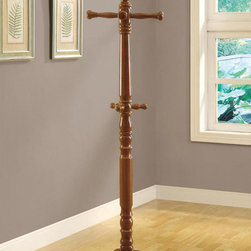 "Monarch - Oak Traditional Solid Wood Coat Rack - Complete the functionality of your home with this classic oak coat rack. A beautiful turned post anchored with a sturdy pedestal base brings plenty of stylish storage into your living space and makes it simple to organize your entryway, hallway or living room. A traditional solid wood oak finish completes the classic appeal of this timeless tripled tiered coat rack.; Color: Oak; Country of Origin: Taiwan; Weight: 15.87 lbs; Dimenions: 16.5""L x 16.5""W x 73.1""H"