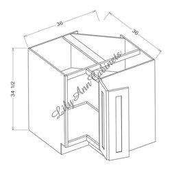 "RTA Rope Base Cabinets LS3612 - Lazy Susan Corner Base Cabinet - Rope Base Cabinets LS3612 - Lazy Susan Corner Base Cabinet Lazy Susan: 36""WX34-1/2""H - 2 stainless steel baskets"
