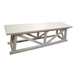 NOIR - NOIR Furniture - Sutton Bench - GBEN108, White Wash - Sutton Bench