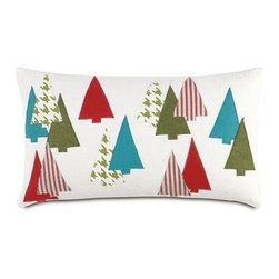 Eastern Accents - North Pole Thru The Woods Decorative Pillow - Features: -Collection: North Pole. -Block printed. -Knife edge finishing. -Zipper closure for easy care. -Down pillow insert. -Made in USA. -Due to the handcrafted nature of this item, slight imperfections and inconsistencies may occur in block printed products.