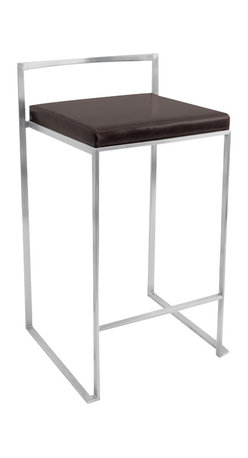 "Lumisource - Fuji Stacker Counter Stool, Wenge - 16"" L x 17.5"" W x 31"" H"