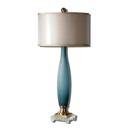 Uttermost - Uttermost Alaia Blue Glass Table Lamp 26582-1 - Etched, frosted, cobalt blue glass with plated brushed brass details and a crystal foot. The round double hardback shades are a golden champagne inner shade with a warm champagne, silken sheer outer shade.