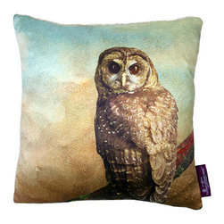 Tempo Luxury Home - The Wisdom Pillow by Joe Ginsberg for Tempo Luxury Home - Casting a stoic gaze, the owl is unwavering. With its earthy palette and striking imagery, this decorator pillow is ideal in a child's room or study. Wisdom is printed on silk charmeuse; velvet-textured backing in Silver. Fill: 75% goose down; 25% feather. The Fable Collection is made to order.