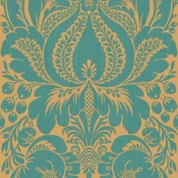 Peacock Large Scale Damask Wallpaper Sample - Spa-like and serene walls are where you add a pop of color! Wallpaper is coming back.