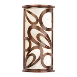 Kalco Lighting - Kalco Asiana 3-Light Ada Wall Sconce - Shown in Copper Claret finish with Frost Glass Shade. The loophole design of the Asiana Collection was inspired by the looping glaze work of Hamada Shoji's stoneware and is brought to life by Kalco's exclusive Antique Copper finish. Shoji's modern interpretation of Japanese pottery provides a casual yet stylish wall sconce. Overall size is 10 in. W x 4 in. D x 20 in. H.