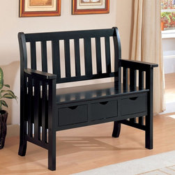 """Coast to Coast - Riley Storage Bench Multicolor - 300085 - Shop for Benches from Hayneedle.com! Start organizing your entryway or mudroom with the Riley Storage Bench. This Mission-style bench is the perfect spot for your family to get ready to leave the house. It features three storage drawers each with an open handle. The drawers are an ideal place for out-the-door items like hats sunglasses and keys. This piece has a fully supportive back and arms a nice touch on a basic bench. The rustic black finish will complement nearly any decor or room in your home.About CoasterCoaster Company of America is incorporated in California and has been distributing """"ready to assemble"""" furniture since 1979. Known for innovatively designed beautifully manufactured durable and versatile furniture Coaster has a broad network of dealers across the U.S. and Mexico and operates permanent showrooms in North Carolina and California. With a trained staff of customer service specialists and product experts Coaster is ready to fill your needs for quality casual dining futons bedroom sets storage benches bunk beds occasional tables and much much more."""
