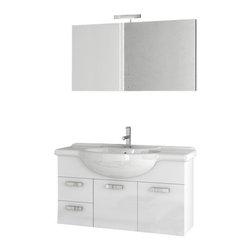 ACF - 39 Inch Glossy White Bathroom Vanity Set - Set Includes: Vanity Cabinet (2 Doors,2 Drawers), high-end fitted ceramic sink, wall mounted vanity mirror.