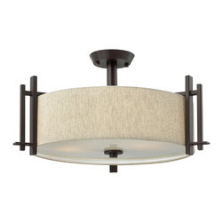Hinkley Lighting - Hinkley Lighting 4543RB Transitional Three Light Semi Flush Mount Ceiling Fixtur - The Sloan collection semi-flush mounted ceiling fixture features forged iron construction with natural linen hard-back shade and etched diffuser lens.