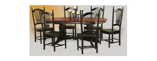 Sunset Trading - 5-Pc Eco-friendly Dining Set in Black Finish - Includes table and four chairs. Sturdy quality craftsmanship. Chair with perfectly carved turned legs. Box seat. Table with two self storing 12 in. butterfly leaves. Solid handcrafted hardwood. Double pedestal trestle base. Clipped-edge table top corners. Beaded edge on tabletop. Adjustable feet levelers. Warranty: One year. Made from Malaysian oak. Cherry finished top. Made in Malaysia. Assembly required. Chair: 21 in. W x 21.5 in. D x 44 in. H (22.4 lbs.). Table minimum: 60 in. L x 42 in. W x 30 in. H. Table maximum: 84 in. L x 42 in. W x 30 in. H (123.35 lbs.)Welcome guests into your home with a touch of country comfort with this classic American piece from the Sunset Trading - Sunset Selections Collection. Whether it's casual coffee and conversation, everyday dining, holidays or special occasions, memories are guaranteed to be made when family and friends gather around this versatile dining table. Warm and inviting, the classic beauty and craftsmanship of this dining tables makes it equally appropriate for your kitchen or dining room fulfilling all your formal and informal dining needs. Classic and timeless, and with the memories made, this relaxed dining piece will bring warmth and comfort to your home for years to come. Complete your dining decor with the country charm of timeless casual dining chairs from the Sunset Trading - Sunset Selections Collection. Offering traditional classic beauty and style, yet always dependably functional, your family and friends will enjoy the seating comfort of these inviting relaxed dining chairs for years to come.