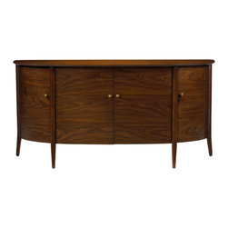 French Heritage - French Heritage Large Dian Buffet - A sleek semi-circle of natural wood-grained beauty, flawless in its minimalist aesthetic, has just a hint of edgy detail. Four wing-like doors give easy access to the interior of this elegant buffet. -Four Doors -Three Adjustable Shelves