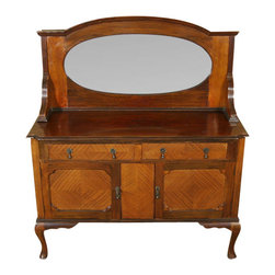 Antique Mahogany Queen Anne Mirrorback Sideboard Server Buffet - This beautiful antique mahogany sideboard has a large bevelled edge oval mirror in the splashback which is supported by fluted brackets on either side. The sides of the piece are paneled as are the cabinet doors. There is a gorgeous crossbanding on the drawer facings, the cabinet doors, and between the cabinet doors. Although not the original, there is a key present that works well in both cabinet door locks. The drawers and cabinet doors have ornate brass drop pulls. The smooth operating drawers have dovetail joinery which is indicative of quality craftsmanship. Standing proudly on cabriole legs with scalloped brackets and pad feet, this very pretty sideboard will be a welcome addition to your home!Condition: There are moderate indentations on the right front side and a slight separation on the right side however these minor imperfections are hardly noticeable and may be considered normal wear for a piece of this age (circa 1920). Overall this piece is in very nice condition. Other Dimensions:  (In inches). Surface  36.25H x 52.5W x 18D2. Drawers  3.75H x 19.5W x 13.5D. Top Shelf  8.75H x 50.5W x 15D. Bottom Shelf  8H x 49.5W x 15.75D.