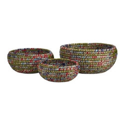 """IMAX - Curtis Woven Bowls - Set of 3 - This oversized set of three bowls are woven from a mix of sea grass and accented with colorful cloth strips. Item Dimensions: (15-22-29""""h x 26-33-42""""w x 13-15-21"""")"""