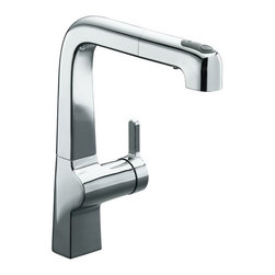 Kohler Evoke Pullout Kitchen Faucet - Futuristic, modern looking single faucet with an integrated pull out spray. We like the modern styling on this faucet for a contemporary design.