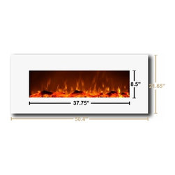 "Touchstone Home Products - Ivory Electric Fireplace- White - The Touchstone Ivory is a beautiful, 50"" wide, electric fireplace with realistic flames and contemporary white frame that will make a strong design statement in your living room, family room or any room in your home. The electric fireplace delivers the beauty of a fireplace without the fire and smokey smell. The Ivory has 2 heat settings (high and low), and will heat a room up to 400 sq. ft.. The Ivory Fireplace comes with a heat disabled switch, allowing for the heater to be disabled so that the Ivory fireplace can be recessed into a wall.  Also, the fireplace's flame can can be used without the heating feature. The Ivory is easy to install and comes with easy to follow instructions. The flames being produced are done with long-lasting LED lights."