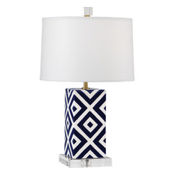 Robert Abbey - Santorini Table Lamp - Are you ready to be wowed? All eyes will gravitate to this eclectic lamp with its blue and white glazed ceramic base. Now you just have to find the right table to handle it!
