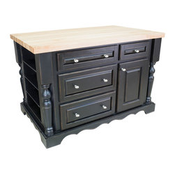 "Inviting Home - Napa Kitchen Island with Wine Rack (distressed black) - Distressed black cabinet style kitchen island with wine rack; 53-1/2""W x 33-1/2""D x 34-1/4""H; 1-3/4"" hard maple butcher block top (01) sold separately; Distressed black cabinet style kitchen island with satin nickel oblong knobs. Kitchen island features soft-close under-mount slides on drawers. Kitchen island has fully adjustable spice shelves on both ends and removable wine rack. Holds up to 48 bottles with additional wine racks. Deep drawers and a large cabinet for storage of pots pans and small appliances. Traditional posts; 1-3/4"" hard maple butcher block top (01) sold separately."