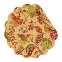 C F enterprises - Henley Round Placemat - High quality quilted placemats by C F Enterprise transform your table in fresh colors and styles.    Fall shades on tan