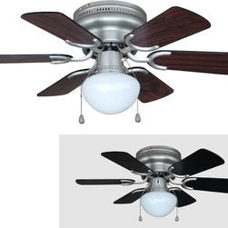 "Builder's Collection - Satin Nickel 30"" Hugger Ceiling Fan w/ Light Kit - Motor Finish: Satin Nickel"