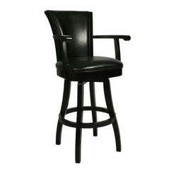 Pastel Glenwood 30 in. Swivel Bar Stool with Arms - Feher Black - The leather upholstery on the Pastel Glenwood 30 in. Swivel Bar Stool with Arms in Feher Black gives it an executive desk chair look in a bar stool. Give your home bar a sophisticated feel. This bar stool features a quality wood frame with foot and arm rests all finished in sleek Feher Black. The seat is foam-padded for maximum comfort and richly upholstered in leather for a touch of class. Fanned out backrest. Choose black or cream upholstery. Please note: This item is not intended for commercial use. Warranty applies to residential use only. About Pastel Furniture:Pastel Furniture's attention to detail and commitment to quality make their products an ideal choice for any home. Their line of swivel bar stools and counter stools features innovative styles that easily fit into almost any home decor. These stools are built to last using high-quality materials such as heavy-duty steel frames and web seat construction and their hand-painted finishes are durable and rust-resistant. Pastel doesn't just stop at bar and counter stools though; they provide a range of products from dining chairs and tables to full dining sets. You're sure to find something among their many fine products that catches your eye and coordinates perfectly with your home.