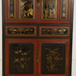Cabinet with Red & Black Lacquered Medallion Panels - Cabinet with Red & Black Lacquered Medallion Panels