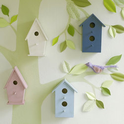 Wooden Bird Houses - Add wooden birdhouses to a painted tree mural or decal to create the illusion of 3-D. It's inexpensive and adorable.