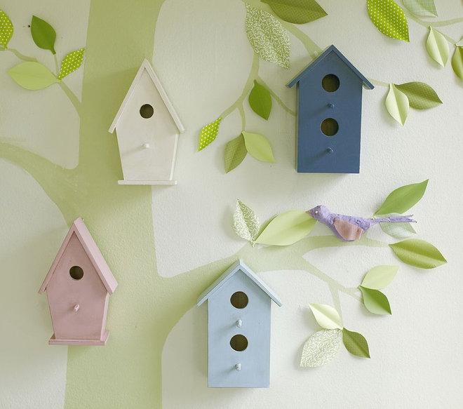 Eclectic Nursery Decor Wooden Bird Houses