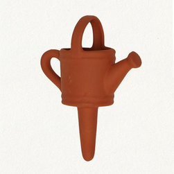 Terracotta Gardening Can - This watering stake is one of the most valuable tools a gardener can have. Especially if you're a gardener who loves to travel away for days on end. Fill up the little can and put it in your plants and you won't have droopy friends greeting you when you return.