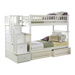 White Solid Wood Twin Over Twin Bunk Bed With Storage - The Atlantic Furniture Columbia full over full bunk bed has a clean, modern look with subtle mission styling.