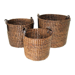 """Master Garden Products - Small Brown Water Hyacinth Round Bin, 20""""L x 10""""H - Water hyacinth is a water plant grown wild in tropical countries. They grow rapidly in which they can be harvested within a month. These materials are highly sustainable and are hand-woven by skilled artisans. These beautiful round shaped basket bins with genuine leather loop handles are great for storing blankets, throws, pillows, laundry, toys, games and more."""