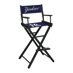 Imperial International - New York Yankees MLB Directors Chair - Take a look at this great Bar-Height Director's Chair. It has black stained hardwood, paddle arms, and a straight line leg rack. It's custom manufactured for you in the heart of Tennessee. It's perfect for your Man Cave, Game Room, Garage or Basement. Logos are screen printed on the back and seats of a high quality 16oz duck cloth canvas. Suitable for indoors and outdoors.